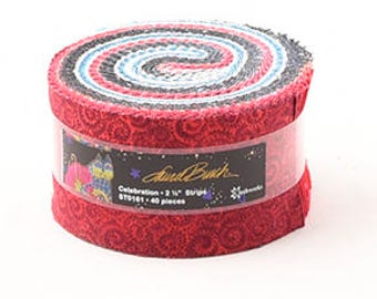 "Laurel Burch Celebration Jelly Roll with Metallic Accents 40 2.5"" strips ST0161 red cotton precut quilting fabric material"
