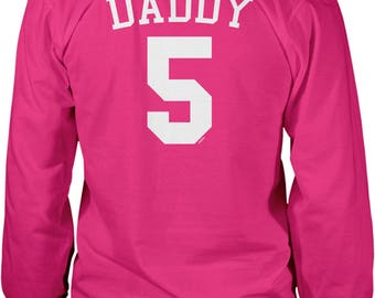 Back Print, Daddy 5, Jersey Number Design, Happy Father's Day Men's Long Sleeve Shirt, NOFO_01286