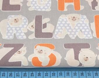 100% cotton fabric printed 50 x 160 cm orange Alphabet