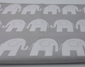 100% cotton fabric 160 x 50 cm (half a metre), white elephants on white background