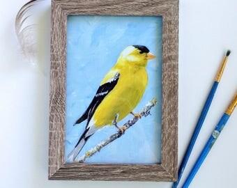 Goldfinch Art Print, 4 x 6 Framed Art, Yellow Bird, Blue Background, Wood Frame, Gold Finch Bird Painting