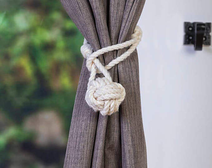 Cotton rope monkey fist knot curtain tiebacks small knot shabby chic nautical style beach house window treatment rope tie-backs old-white