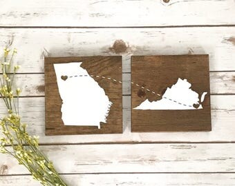 States signs Gift for her him Long Distance Friendship Best Friends BFF Birthday Moving Away Missing You Moving Wedding Gift Personalized