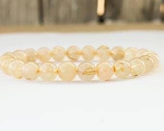 Golden Rutilated Quartz Bracelet -8mm, Venus' Hair Stone, Quartz Gemstone Bracelet, Gemstone Bracelet, Womens Bracelet, Gift for Women