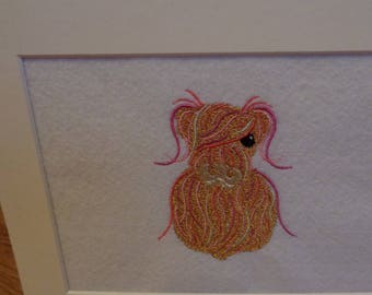 Highland Cow Embroidered Picture