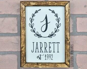 Custom Established Family Name Framed Farmhouse Style Wood Sign