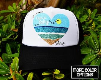 Keep it Salty Beach Trucker Hat / vacation, beachwear, waves, women's hat, women's trucker hat, Christian trucker hat, Cap
