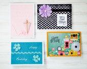 FEMALE BIRTHDAY Greeting Card Set - 2 Women Birthday Cards / 2 Girls Birthday Cards / 4 Unique Handmade Cards / Blank Cards / Card Gift Set