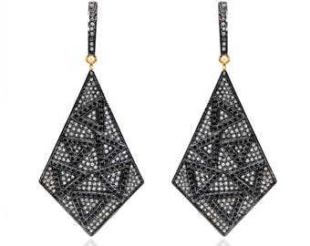 SDE1615 - Silver pave diamond earrings