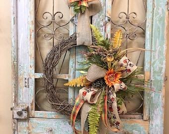Fall Wreath, Fall Decor, Door Decor, Grapevine Wreath, Thanksgiving Wreath