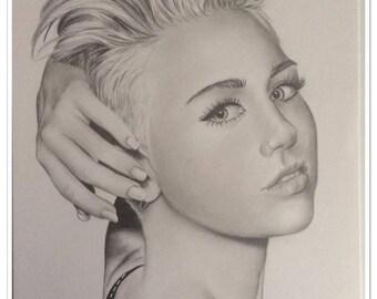 graphite pencil portrait of Miley Cyrus