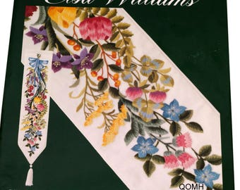 Elsa Williams Crewel Embroidery Kit FLORAL FESTIVE Bell Pull Linen PATERNAYAN