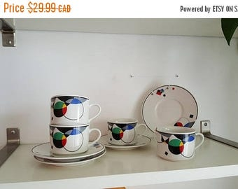 Set of 4 Lynns China Mystique Pattern Cup and Saucers - 1980s/early 1990s Memphis Group - Sottsass era