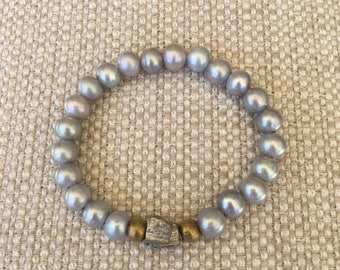Grey Freshwater Pearl Stretch Bracelet with Pyrite Focal Bead and African Prayer Beads
