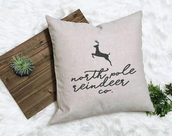 North Pole Reindeer - Rudolph Decor - Country Christmas Pillow - Deer Pillow - Reindeer Pillow - Rustic Christmas Decor - Farmhouse Pillow