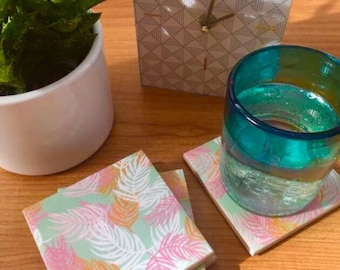 Ceramic Coasters - Feather Design