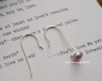 6 pieces (3 pairs)  925 sterling silver 23mm hook earring for half drilled beads bead findings earring component