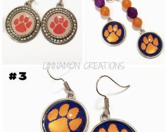 Clemson Earrings, Clemson Tigers Earrings