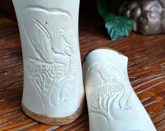 Vintage hand-carved bone/wood elephant s&p shakers
