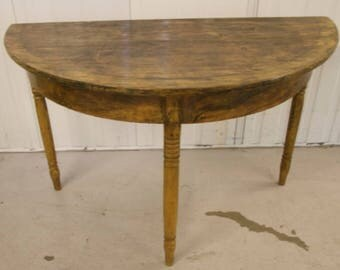 Early 1800 pair of antique swedish gustavian demi lune tables in original handpainted faux wood grain
