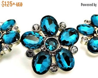 20% SALE TEAL Flower Rhinestone Buttons Black Acrylic Rhinestone Buttons Starburst Rhinestone Buttons Coat Buttons Fashion Buttons 25mm 3341