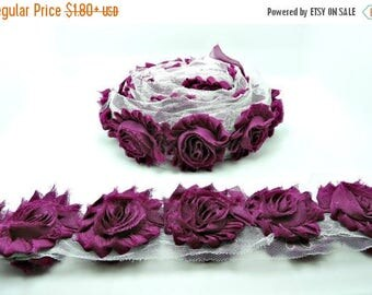 40% SALE EGGPLANT Chiffon Flowers 1/2 Yard or 1 Yard Shabby Flower Trim Frayed Flowers Chic Rosettes Rosette Trim Flowers Shabby Rose Flower