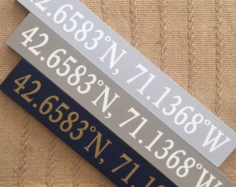 Custom Longitude Latitude Wooden Sign, Sign Coordinates, Personalized Latitude Longitude Sign, Housewarming gift, Custom Engagement gift