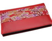 red checkbook protector in imitation leather and Japanese fabric