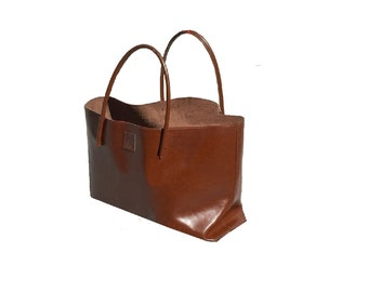 Big leather bag for wholesale shopping bag Einkaufsshopper XXL Shopper Cognac used look handmade