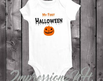 My First Halloween shirt - My 1st halloween onesie - Cute pumpkin halloween baby shirt
