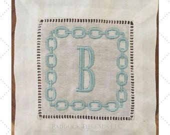 Horse Bit Frame with Single Initial Cocktail Napkins Set