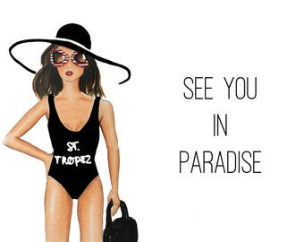 Postcard Illustration 'See You in Paradise'