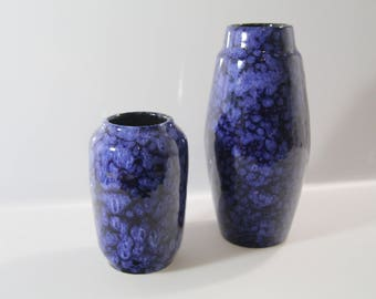 2 pretty vases by Scheurich 238-14 and 203-22   West German Pottery - Fat Lava - WGP mid century blue