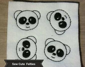 Panda Feltie - Sheet of 4 Panda Felties - Panda - Animals - Felties -Embroidered Felt Appliques - Hair Bow Centers