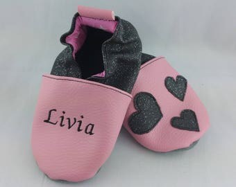 Baby shoes soft leather and leatherette, baby, boy, girl, child, personalized, hearts