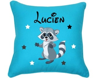 Personalized pillow raccoon