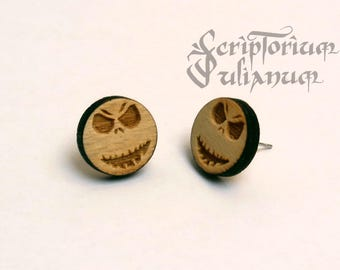 Wooden gothic studs, Nightmare before Christmas Jack Skellington earrings, friend gift, jewellery jewelry, gift for her, Christmas gift