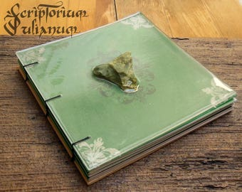 Serpentinite journal, reiki journal, gemstone, book of shadows, grimoire, Wicca, witchcraft, crystal healing, Valentine's day gift, Imbolc
