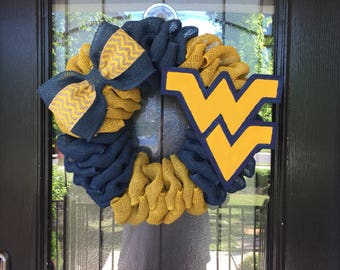 Burlap Wreath navy and yellow  burlap; West Virginia University wreath, everyday wreath