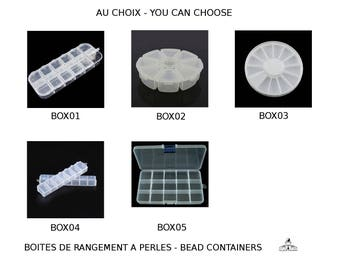 Boites en matière plastique pour le stockage des perles et apprêts- au choix- you can choose