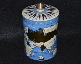 Vintage Mercator Compass Tin, Cool World Map and Time Zone Canister, Litho Map Container, Blue and Gold Mercator Container, Educational Tin
