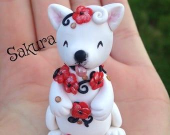 Chinese New Year dog Chinese zodiac animal cherry blossom polymer clay handmade