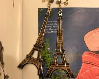 Eiffel Tower vintage earrings#enameled earrings#vintage earrings#parisien earrings#