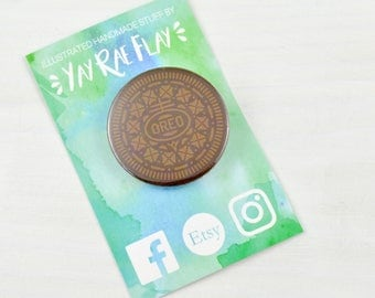 Oreo Biscuit | Fun Button Badge | Cute Pin Badge.