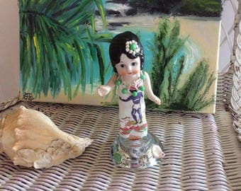 Altered Antique Bisque Doll, Reinvented, Hawaiian Wahine in her Muumuu and Lei, One of a Kind Art Doll