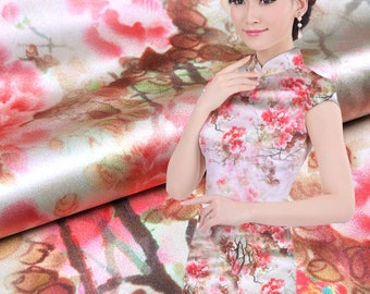 19MM 114cm width print  pure silk charmeuse fabric 100% muberry silk stain silk print fabric
