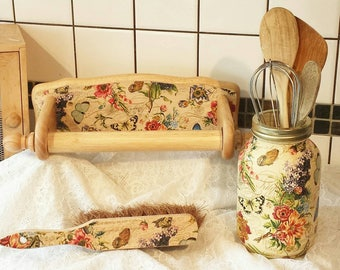 Hand decorated large mason jar. Kitchen decor.