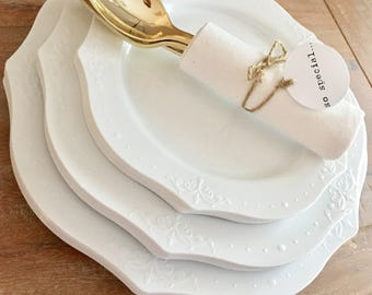 Timeless Chandelier Plate Collection. Modern Vintage White Party Plates. Disposable Wedding Plates. Disposable Buffet Party Plates.