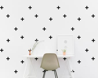 Plus sign wall Decal Positive Kids room Wall Sticker Living room Bedroom Office Pattern Wallpaper Vinyl Wall Decals Wall Stickers Home Decor