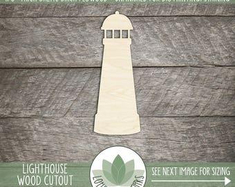 Wood Lighthouse Shape, Unfinished Wood Lighthouse Laser Cut Shape, DIY Craft Supply, Many Size Options
